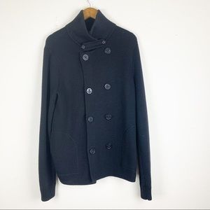 Vince | Mens Black Double Breasted Wool Cardigan